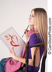 mujer hermosa, pintura