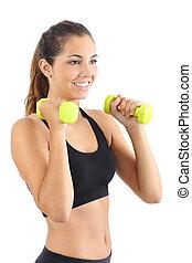 mujer hermosa, practicar, aerobio, dumbbells, condición física