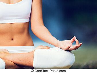 mujer hermosa, practicar, yoga, exterior, en, naturaleza