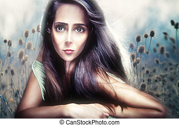 mujer hermosa, retrato, anime, estilo, compuesto