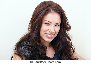 mujer hermosa, retrato, sonriente