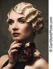 mujer hermosa, rosa, elegante, flor, negro, retro, rubio,...