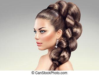mujer hermosa, sano, pelo largo, braid.