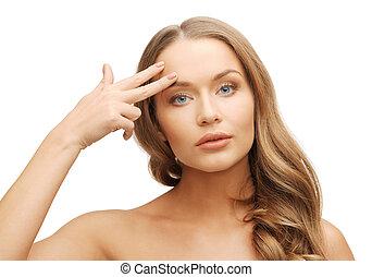 mujer hermosa, señalar con el dedo hacerlo/serlo, frente