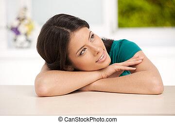 mujer hermosa, sentado, lejos, el mirar joven, tabla, niña, ...
