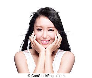 mujer hermosa, sonrisa, cara