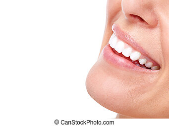 mujer hermosa, sonrisa, y, teeth.