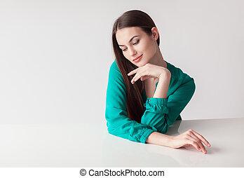 mujer hermosa, tímido, plano de fondo, retrato, blanco