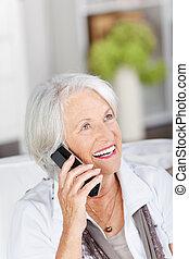 mujer hermosa, teléfono, vivaz