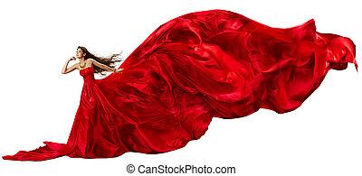 mujer hermosa, tela, encima, vuelo, whi, ondulación, vestido, rojo
