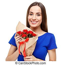 mujer hermosa, tenencia, ramo de rosas