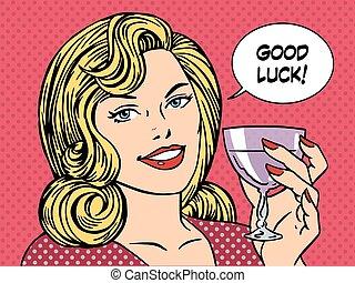 mujer hermosa, tostada, vino vidrio, buena suerte