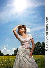 mujer hermosa, vaquero, hat.