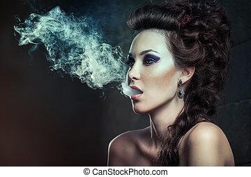 mujer hermosa, vestido, violeta