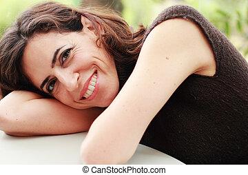 mujer hermosa, viejo, 35, años