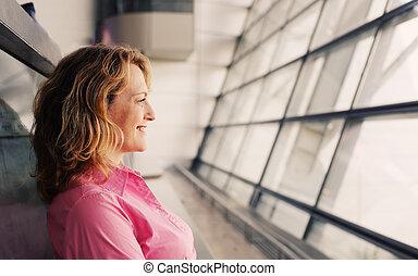 mujer hermosa, viejo, 35, años, retrato