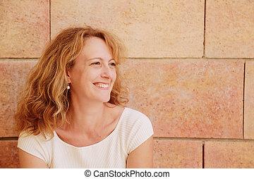 mujer hermosa, viejo, 40, años, aire libre, retrato