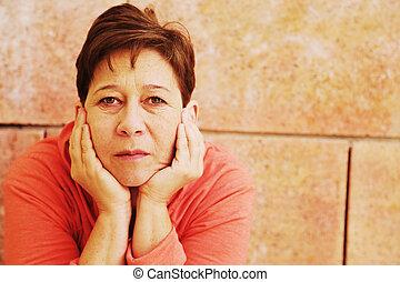 mujer hermosa, viejo, 45, años, aire libre, retrato