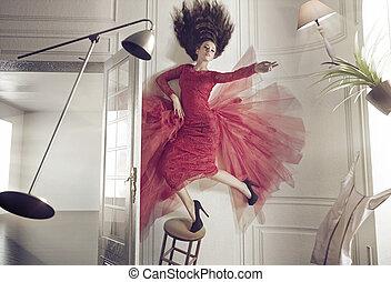 mujer hermosa, y, el, levitar, cosas