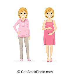 mujer, hermoso, ilustración, embarazada, vector, dress., ...
