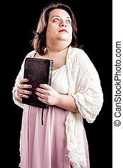 mujer hispana, con, biblia