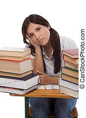 mujer, hispano, libros, estudiante universitario, pila