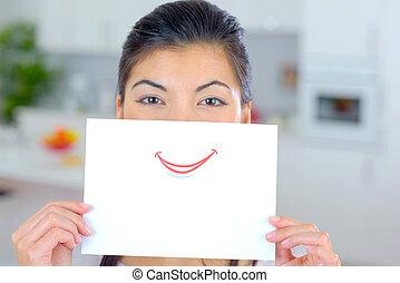 mujer, hoja, ella, encima, papel, boca, tenencia