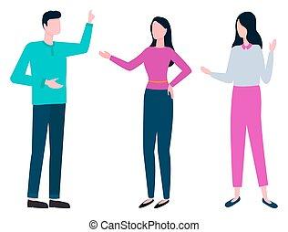 mujer, hombre, colegas, colaboración, el consultar