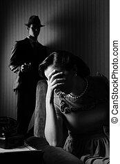mujer hombre, conflicto, entre