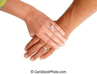 mujer, hombre, mano