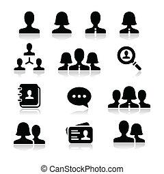 mujer hombre, usuario, vector, iconos, conjunto