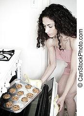 mujer, hornada, en, cocina