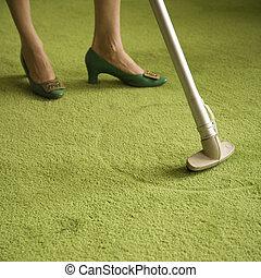 mujer, house., limpieza