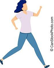 mujer, icono, lento, caricatura, corriente, estilo