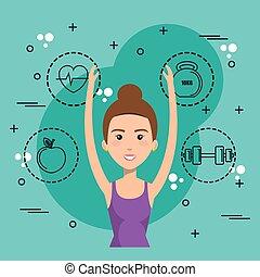 mujer, iconos, bailando, deportes