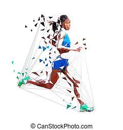 mujer, illustration., corredor, aislado, poly, polygonal, corriente, vector, bajo, geométrico, maratón