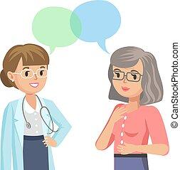 mujer, illustration., doctor, patient., hablar, vector, 3º edad, physician.