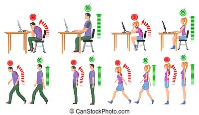 mujer, illustration., posiciones, spine., mal, vector, correcto, hombre