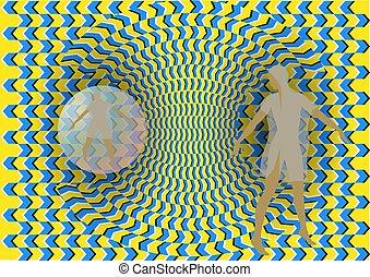 mujer, ilusión, óptico