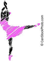 mujer, ilustración, 1, golpe, bailarín, cepillo