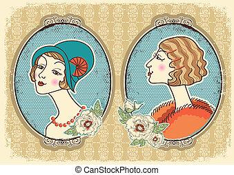 mujer, ilustración, frame., retratos, vector, vendimia