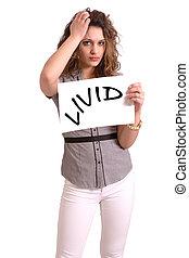 mujer, incómodo, texto, lívido, papel, tenencia