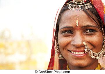 mujer, indio, feliz