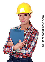 mujer, industria de la construcción, ingeniero