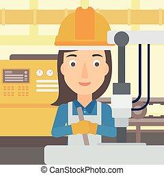 mujer, industrial, equipment., trabajando