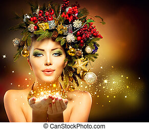 mujer, invierno, ella, milagro, mano, navidad