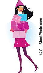 mujer, invierno, regalos