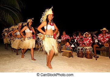 mujer, isla, bailarines, joven, pacífico, tahitiano,...