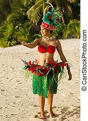 mujer, isla, joven, pacífico, tahitiano, bailarín,...