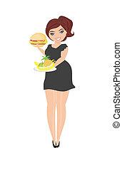 mujer, isolated., grasa, fruta, escoger, entre, hamburger.